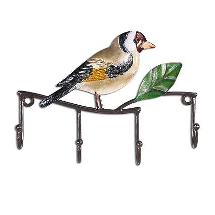 Tooarts - Colgador de Pared para pájaros, 4 Ganchos, Hierro Decorativo, para Colgar en la Pared, para Colgar Ropa, Llaves, Regalos Vintage con Forma ...