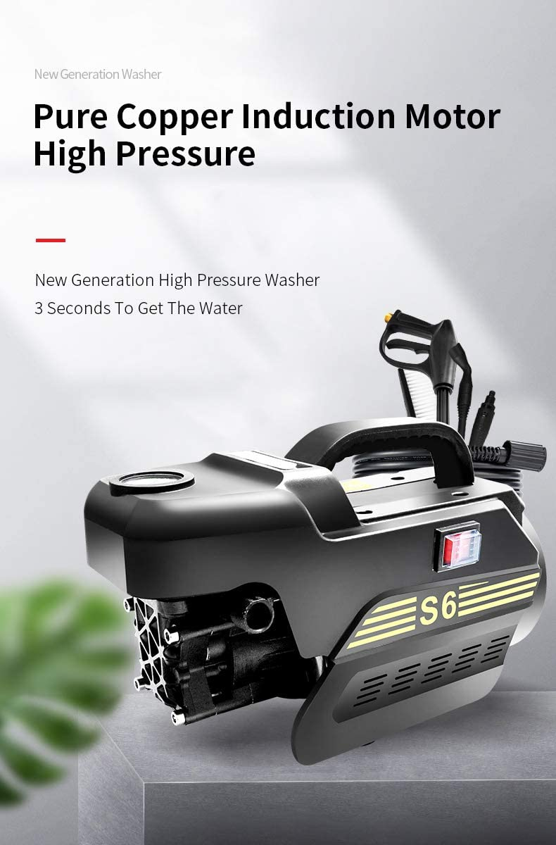 POHIR S6 Compact Portable Electric High Pressure Washer, Max 1500 PSI 2.1 GPM, Pure Copper Induction Motor, Spray Gun, Remove Dirt for Vehicle Deck Garden