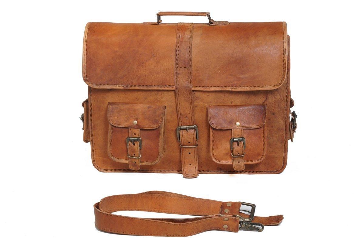 18'' Handmade Classic Leather Laptop Messenger Bag Satchel Office Briefcase Unisex (Style 2)