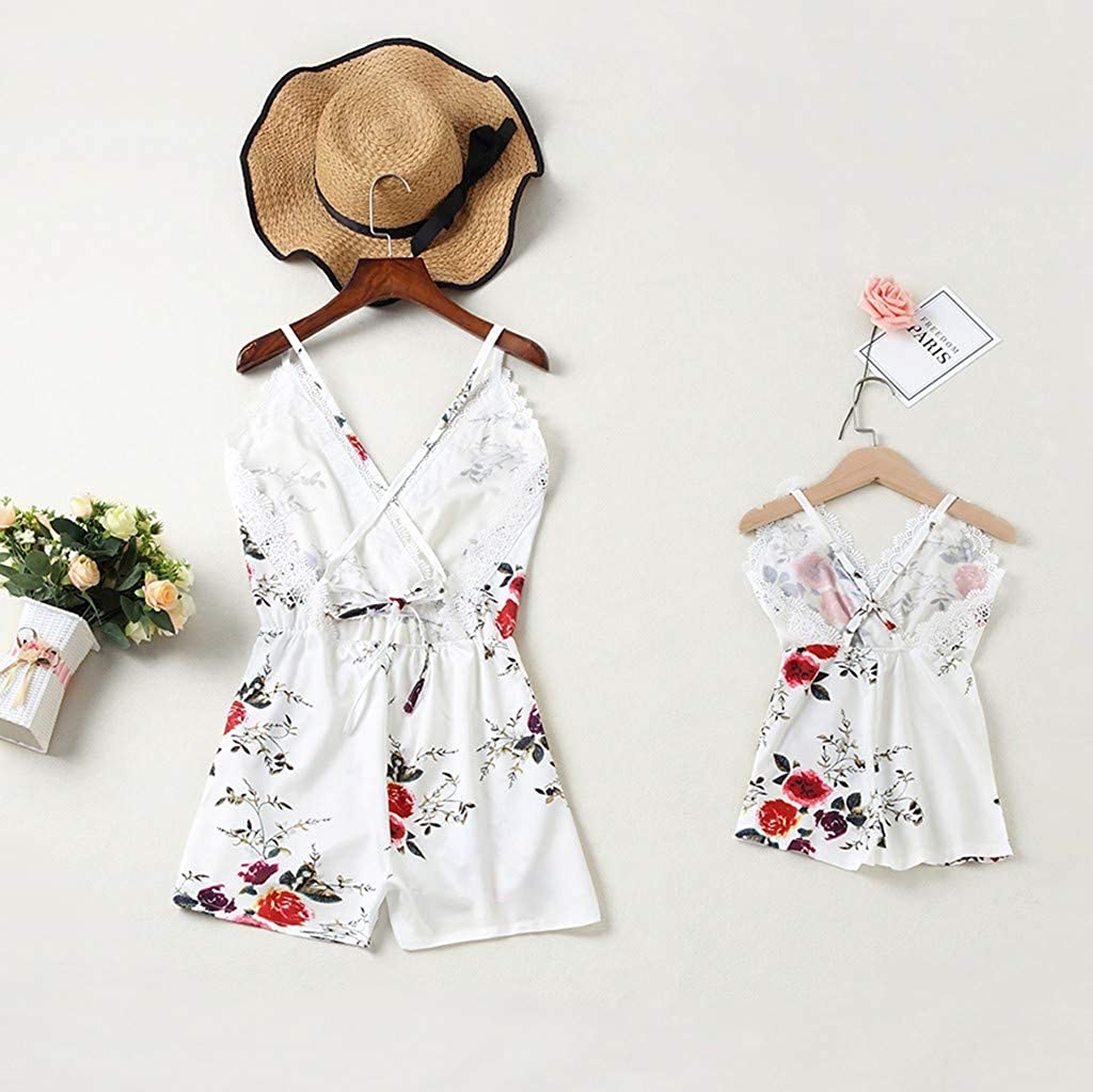 Mommy and Me Jumpsuit Sleeveless V Neck Floral Print Girl Family Matching Short Romper Outfits kaiCran