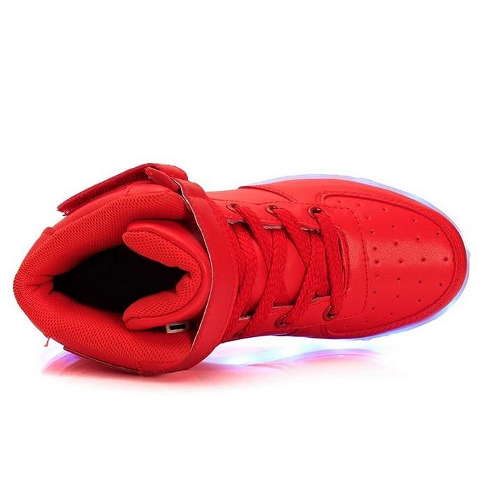 Kinder Jungen Mädchen LED leuchten Schuhe Hochgeschnittene Turnschuhe Lässige Schuhe (EU28 Kinder-Fuß Länge:17.8cm, Gold)