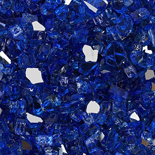 "Celestial Fire Glass High Luster, 1/2"" Reflective Tempered Fire Glass in Meridian Blue 