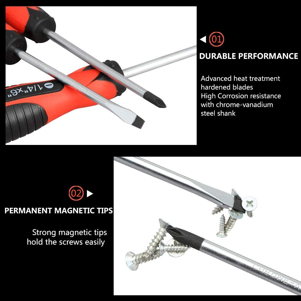 Magnetic Screwdriver Set,5 Pieces Slotted and Phillips Screwdriver with Ergonomic Comfortable Non-skid Handle,Permanent Magnetic Tips,Rust Resistant Heavy Duty Craftsman Toolkit For Wet, Oily Hand: Home Improvement