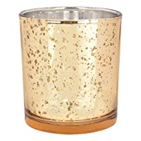 Just Artifacts Mercury Glass Votive Candle Holders 4-Inch Speckled Gold (Set of...