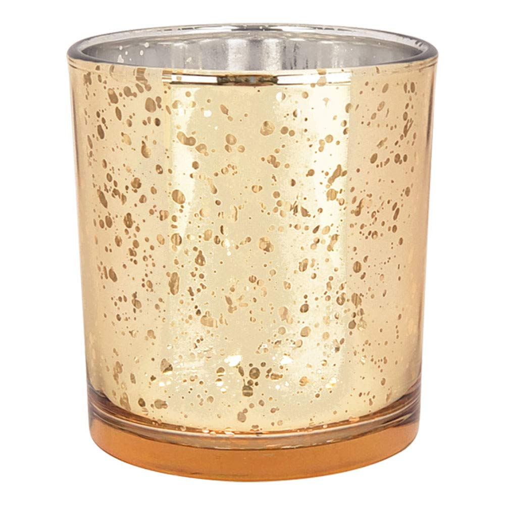 Just Artifacts Mercury Glass Votive Candle Holders 3-Inch Speckled Gold (Set of 12) - Mercury Glass Votive Candle Holders for Weddings and Home Décor