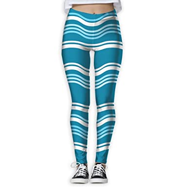 ce631cdc59 Women's Yoga Capris Running Pants Workout Leggings - Wave Blue at Amazon  Women's Clothing store:
