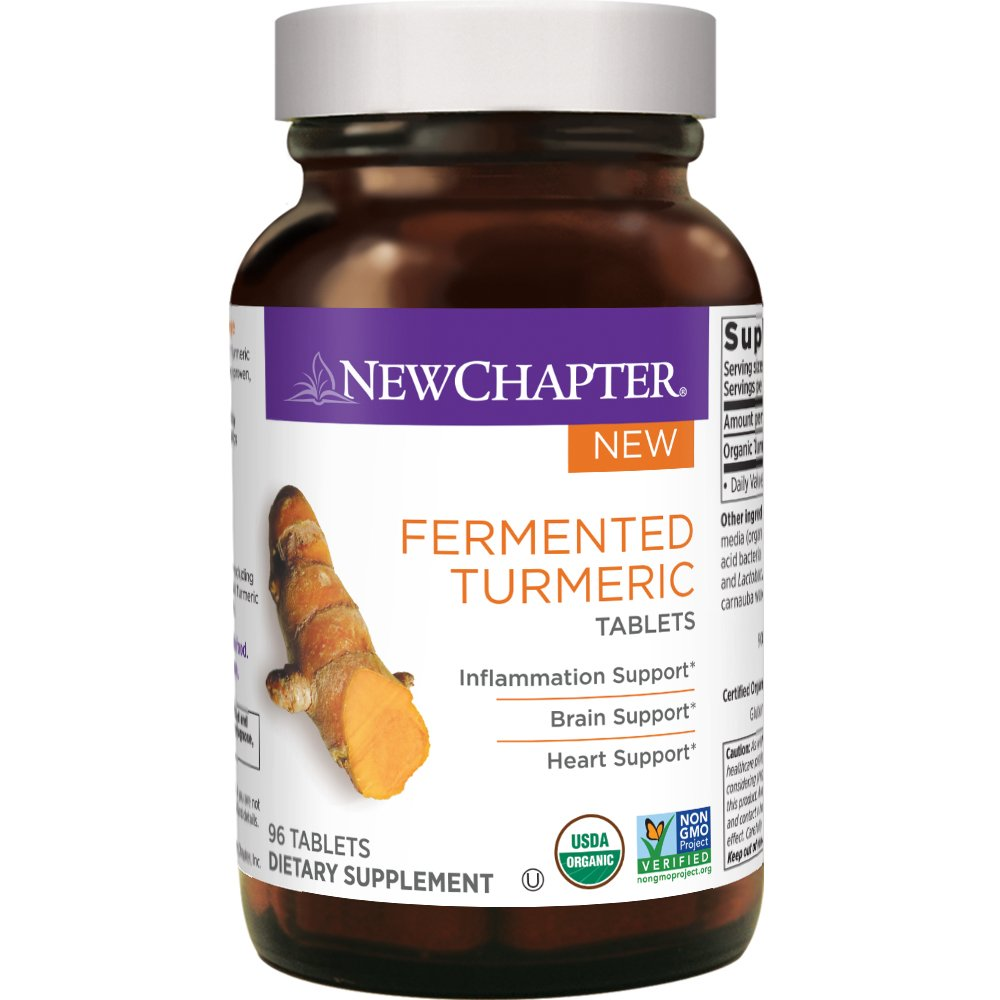 New Chapter Organic Turmeric Supplement – Fermented Turmeric Tablet for Brain, Heart and Inflammation Support 96 ct