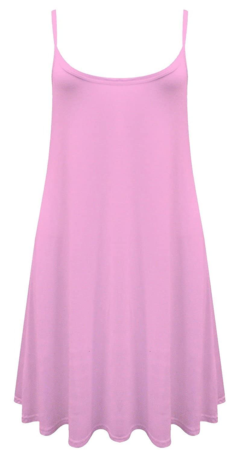 63a957a896a4 ZJ Clothes Womens Plain Sleeveless Cami Strappy Swing Dress at Amazon  Women s Clothing store
