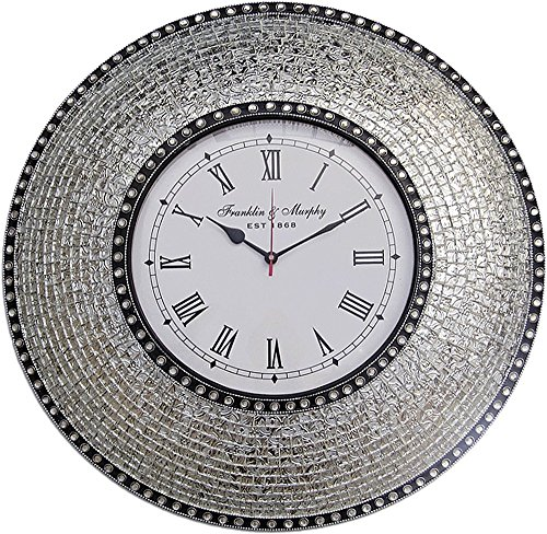22.5 Silver, Handmade Glass Mosaic Wall Clock, Quiet Motion Design by DecorShore