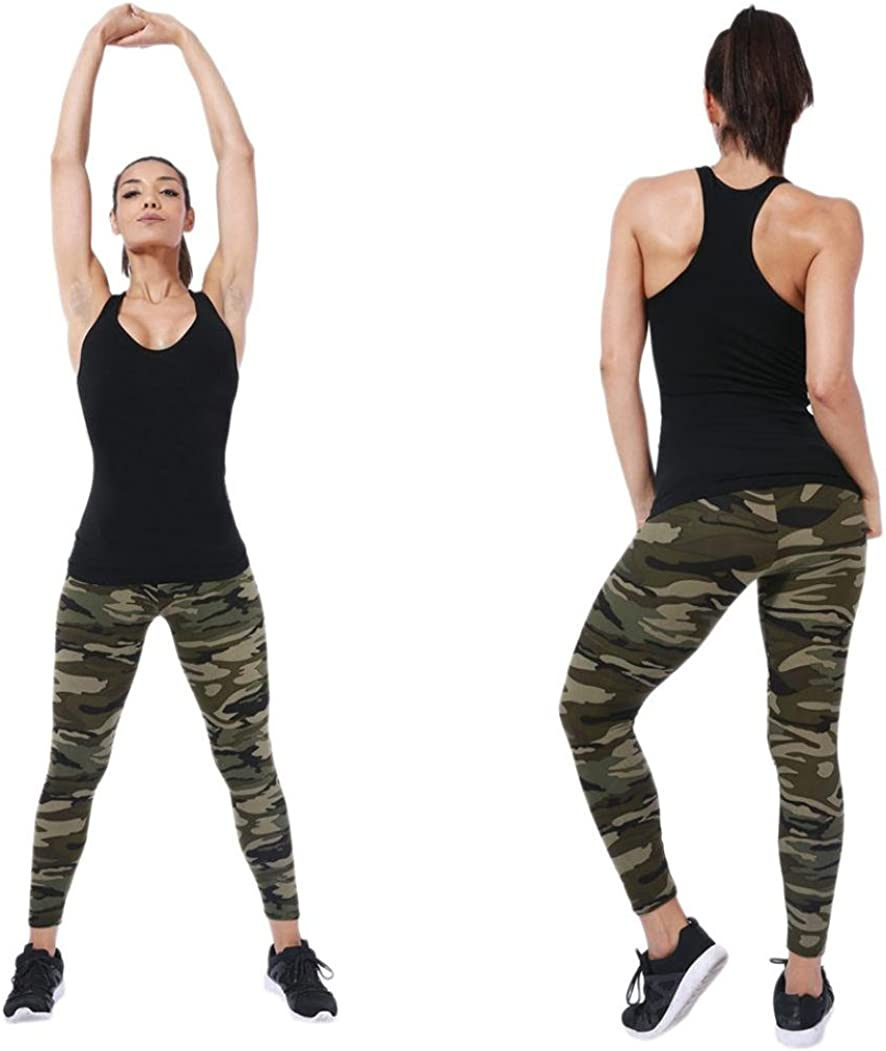 Minisoya Fashion Women Camouflage Printed Trouser Tight Pencil Leggings Casual Trousers Fitness Gym Yoga Long Pants Camouflage E