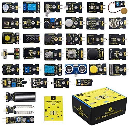 KEYESTUDIO 37 in 1 Sensor Kit 37 Sensors Modules Starter Kit for Arduino Raspberry Pi Programming Project, Electronics Components STEM Education Set for Kids Teens Adults + Tutorial