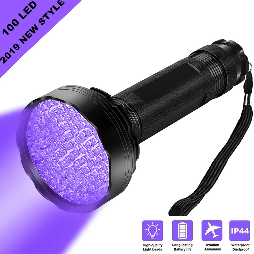 WJZXTEK Black Light Super Bright 100 LED Best Powerful UV Light Flashlight 395NM Ultraviolet Urine Detector Flashlight for Home & Hotel Inspection, Pet Urine & Stain Detection-New Style 100Led