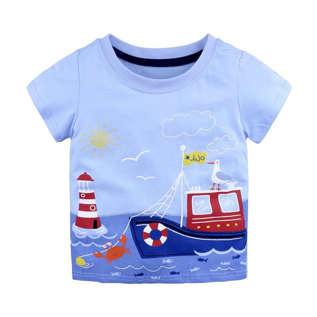 Pollyhb Baby Girl Boy T Shirt, Summer Infant Kids Baby Girl Boy T Shirts Cartoon Print T Shirts Tops Outfits(1-6 Years)