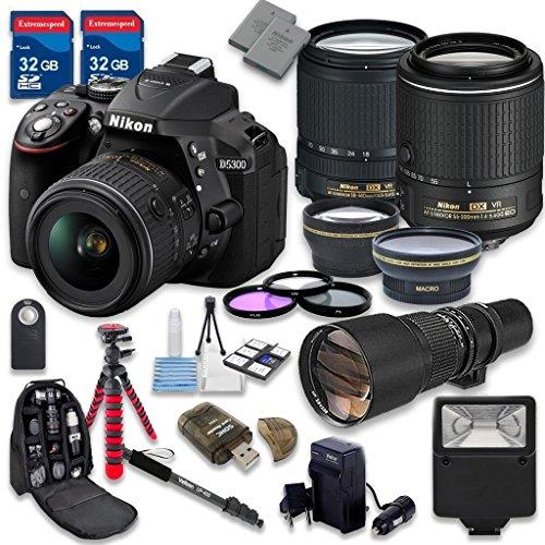 (Nikon D5300 DSLR Camera with 18-140mm Lens + 55-200mm f/4-5.6G ED VR II Lens + 500mm Preset f/8 Lens + 2pc 32GB Memory SD Cards + Accessory Kit - International Version (No Warranty))