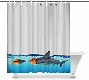 INTERESTPRINT Funny Disguise Between Shark and Goldfish Waterproof Shower Curtain Decor Fabric Bathroom Set with Hooks, 72(Wide) x 84(Height) Inches