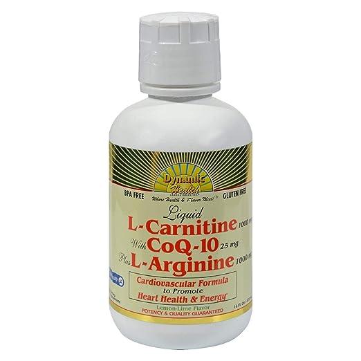 66ef9940b54 Amazon.com  Dynamic Health Liquid L-Carnitine with CoQ-10 plus L-Arginine  473ml Bottle  Health   Personal Care