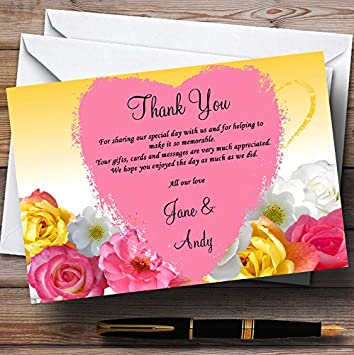 Yellow Pink Flowers Personalized Wedding Thank You Cards