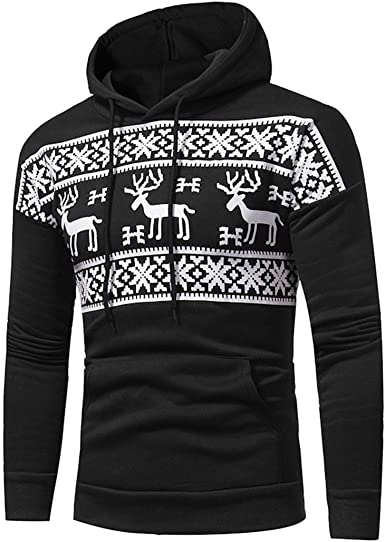 Mens Hooded Sweatshirt Snowflakes Red White Pullover Fashion Hoodie Sweater