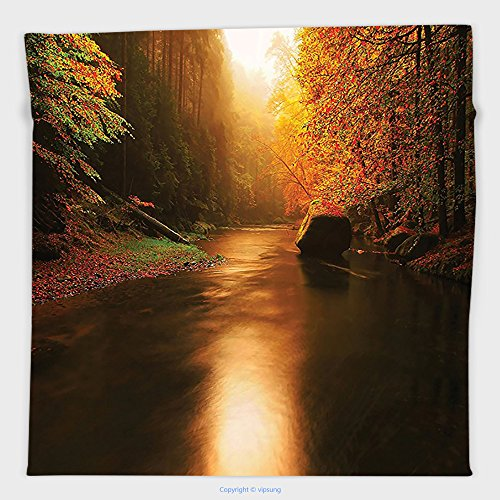 Vipsung Microfiber Ultra Soft Hand Towel-Lake House Decor Collection Calm Autumn Forest With Flowing River Sunlight Pine And Oak Trees Sunlight Branches Multi For Hotel Spa Beach Pool - River Oaks Ford