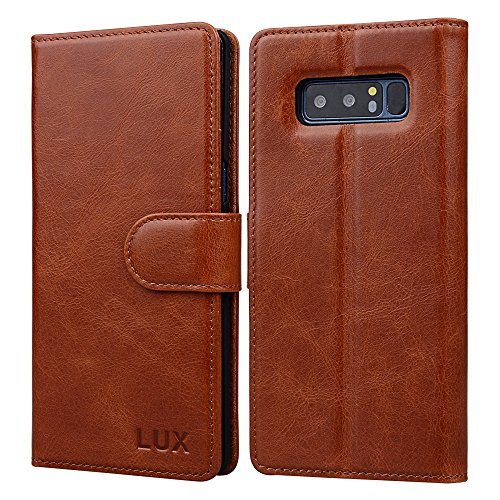 Samsung Note 8(2017) Genuine Leather Case: Crafted with Premium Italian Leather [Wireless Charging Compatible] Wallet Case Perfect for Carrying Your Essentials ID Cash, Kickstand Folio by Lux Cases (A Different World Netflix Out Of Order)