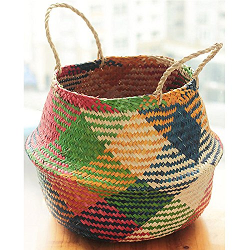 Natural Woven Seagrass Tote Belly Basket for Storage, Laundry, Picnic, Plant Pot Cover, and Beach Bag