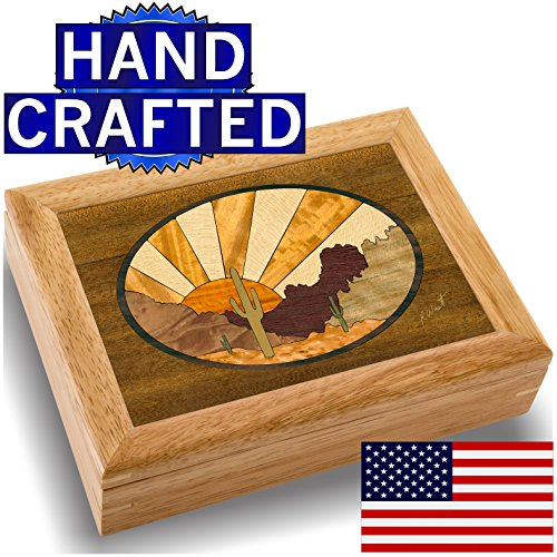 Wood Art Desert Box – Handmade USA – Unmatched Quality – Unique, No Two are the Same – Original Work of Wood Art. A Sunset Gift, Ring, Trinket or Wood…
