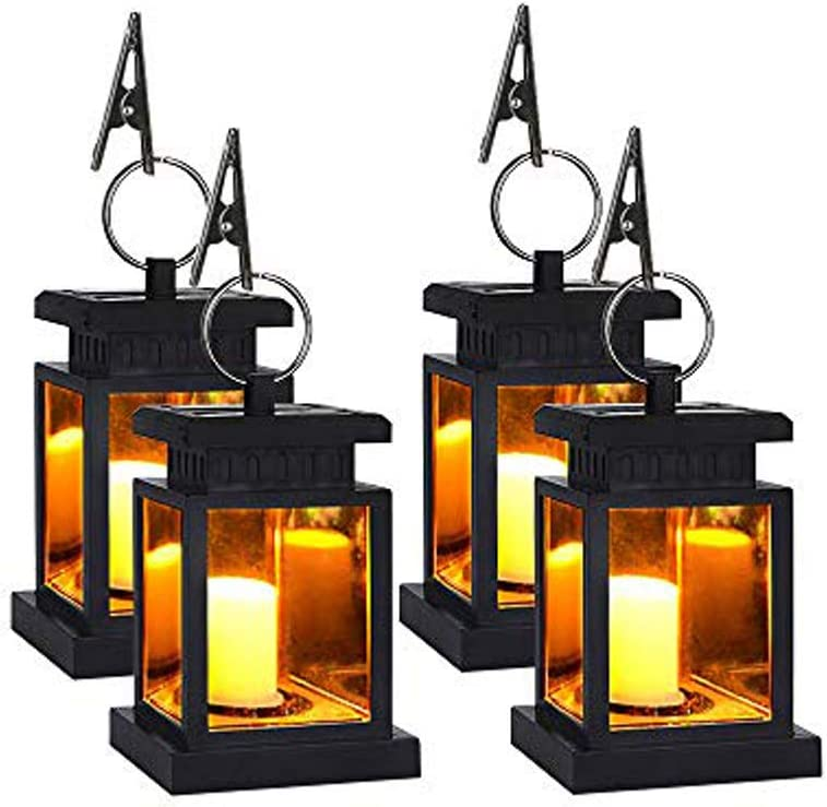 Solar Lantern Hanging LED Solar Powered Lantern Light Waterproof Flameless Candle Flickering Warm White Outdoor Decorative for Garden Patio Yard Lawn Balcony (4 Pack)