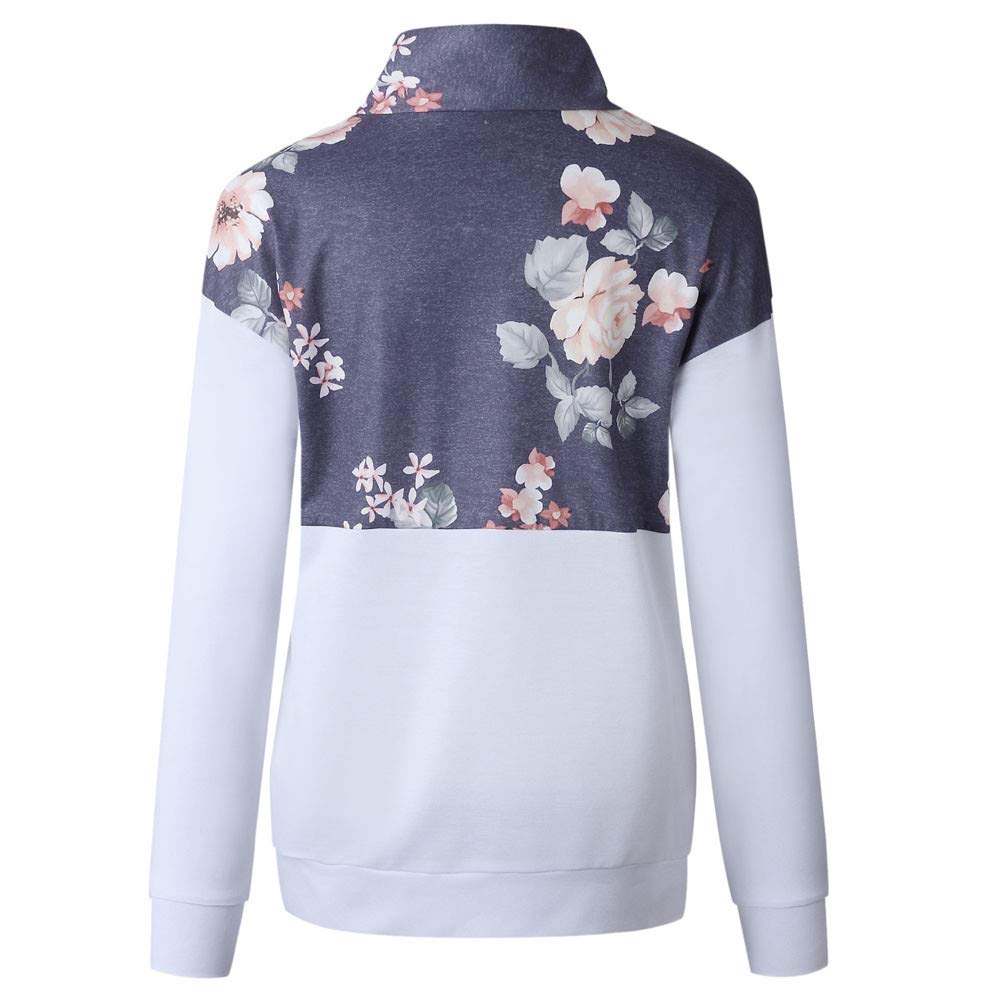 Amazon.com: Gessppo Women Pocket Sweatshirt Floral Zipper Long Sleeve Pullover Blouse Shirts: Clothing