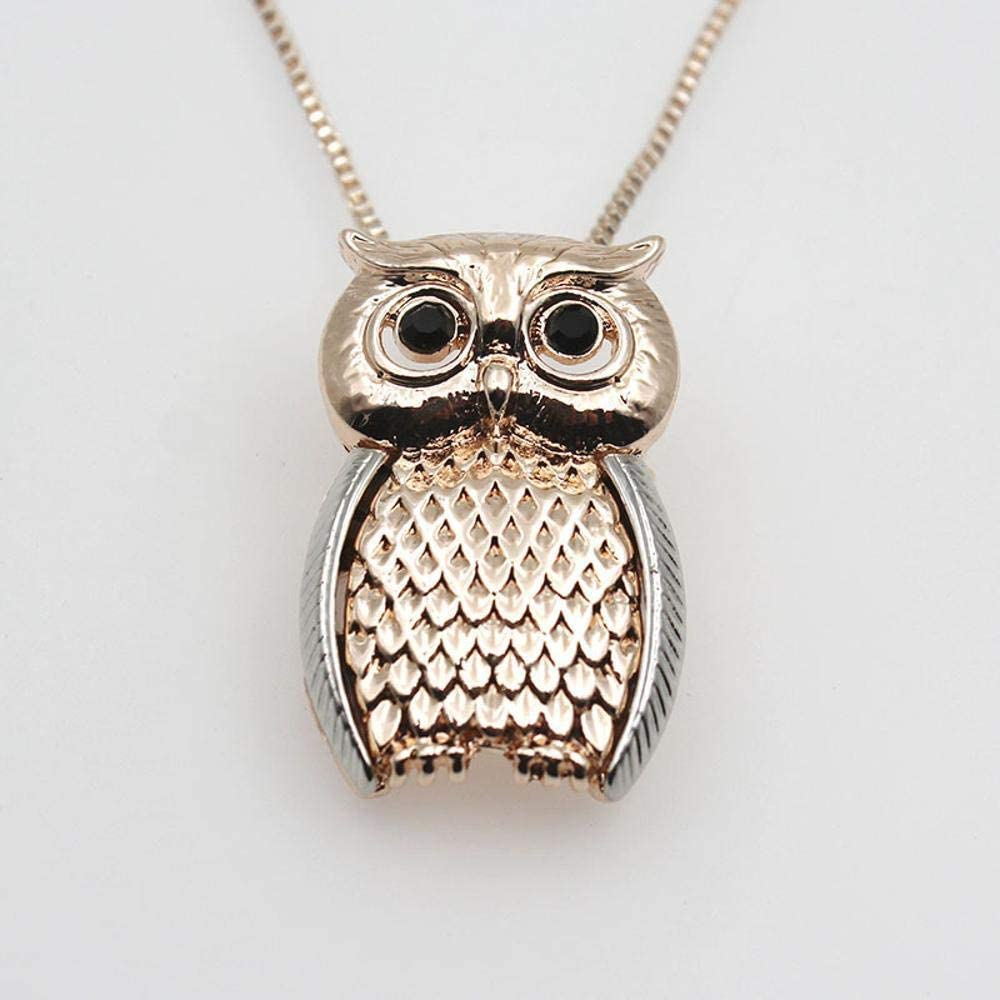 cushang Mens Pendant Women Necklac Golden Animal Brooch pin OWL Brooch Necklace Alloy Dual Purpose Necklace Jewelry