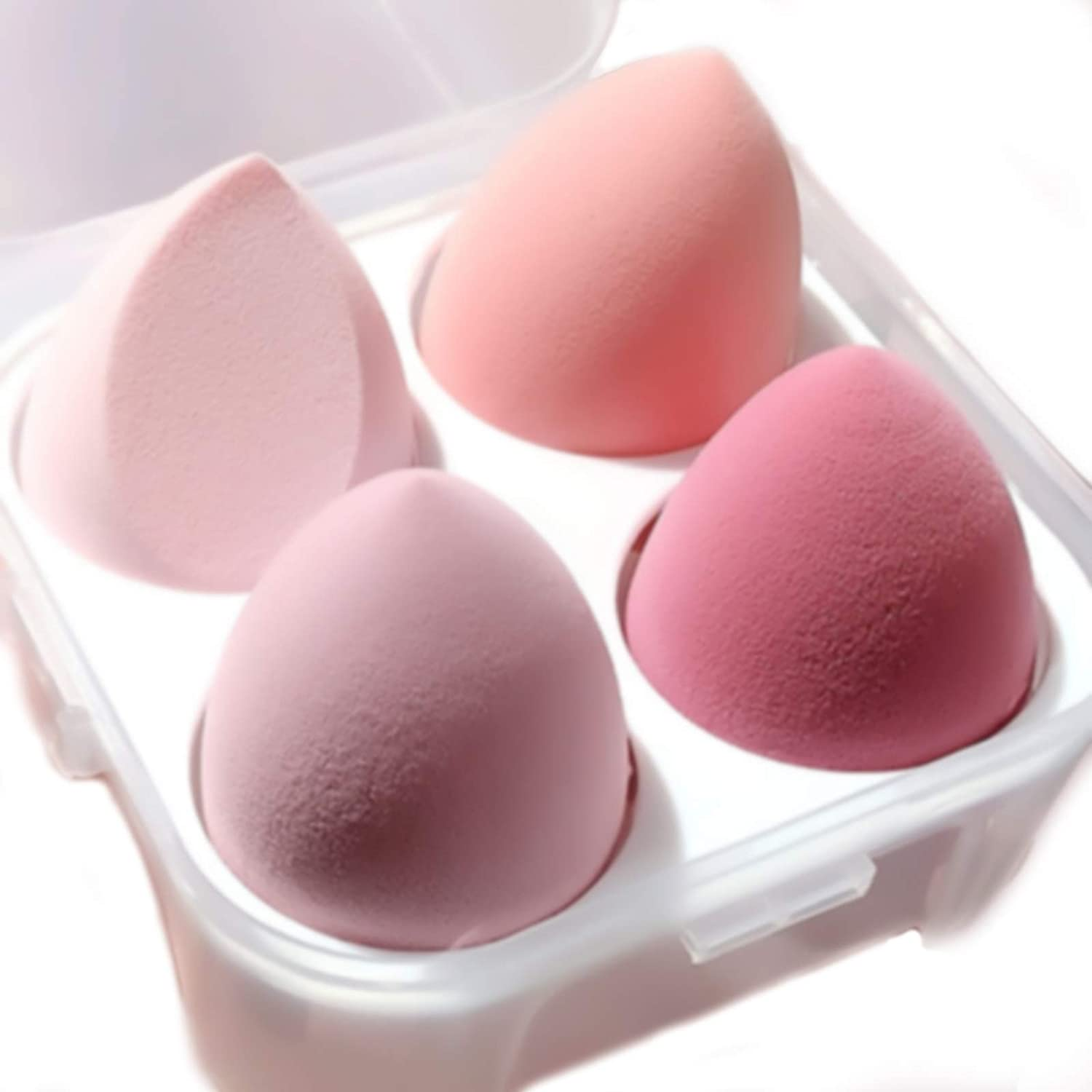 FIFIGO Makeup Sponge Set Blender Beauty Foundation Blending Sponge, Flawless for Liquid, Cream, and Powder, Multi-colored Makeup Sponges,Dry And Wet Use 3D Beauty Egg for Make Up. 4 Pcs