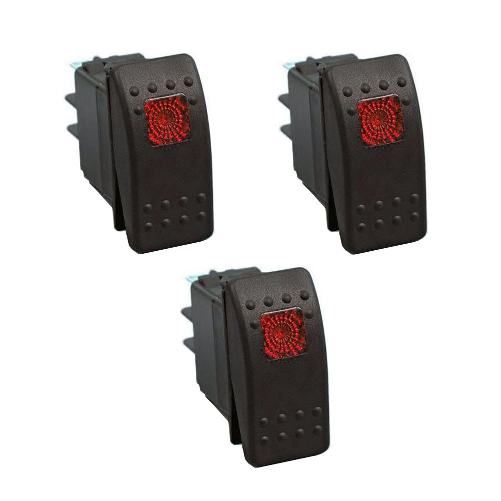 XT AUTO 12V 20 Amp 3pins Red Light Rocker Switch Kit 3-pack by XT AUTO
