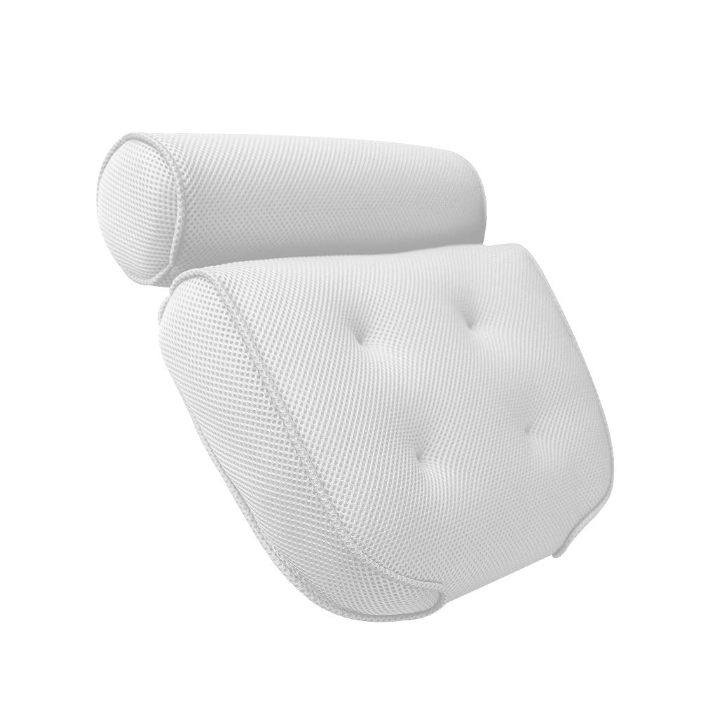 Spa Bath Pillow Non-slip Bathtub Pillow with 6 Suction Cups,Hanging Hook Comfort Neck Rest Back