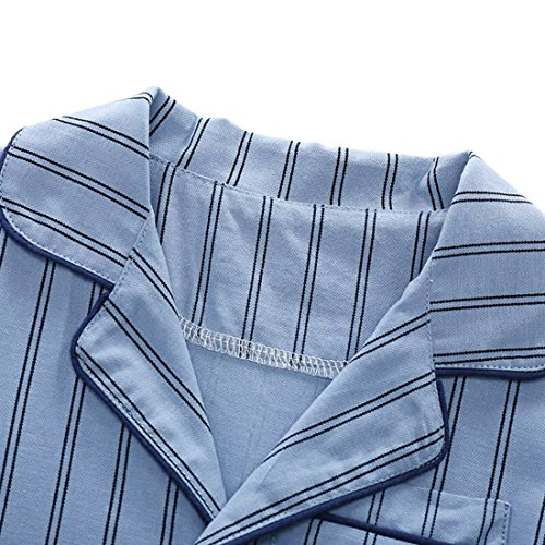PAUBOLI Boys Button Down Pajamas Set Short Sleeve Organic Cotton Striped Sleepwear Loungewear (6-7 Years) by PAUBOLI (Image #1)
