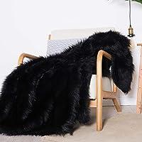 Luxury Plush Faux Fur Throw Blanket, Long Pile Black Throw Blanket, Super Warm, Fuzzy, Elegant, Fluffy Decoration…