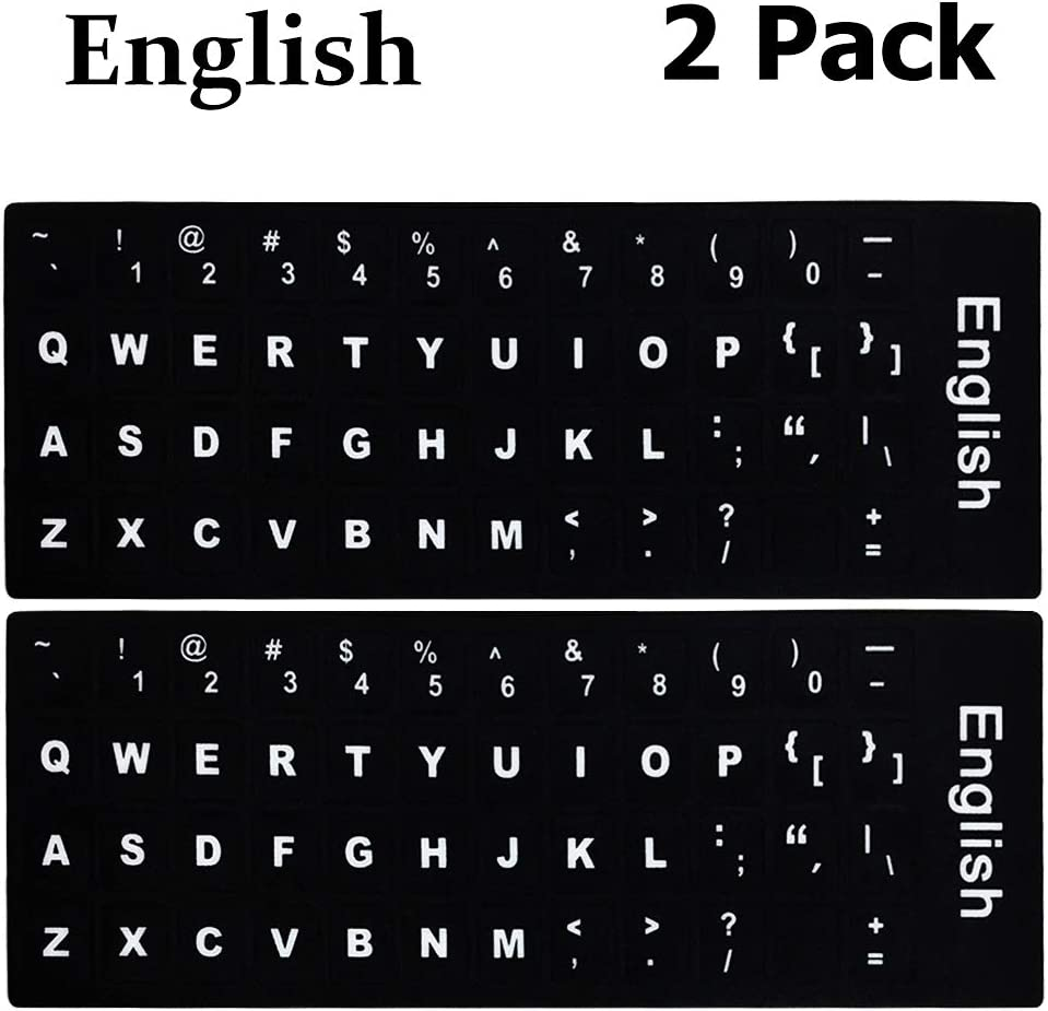 English Keyboard Stickers,English Keyboard Replacement Sticker with Black Background and White Big Lettering for Computer Notebook Laptop Desktop Keyboards