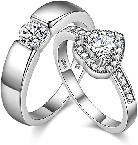 Amazon Com Uloveido A Pair Of Silver Color His And Her Wedding