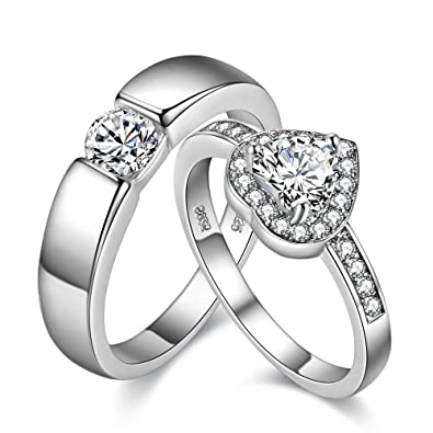 3819e7307a Uloveido A Pair of Silver Color His and Her Wedding Bands Sets Love Heart  Matching Engagement