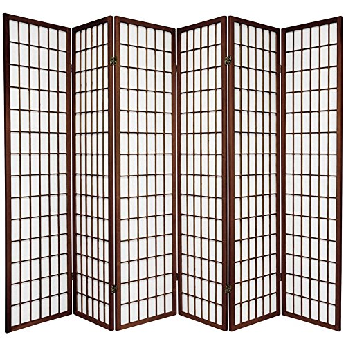 (Oriental Furniture 6 ft. Tall Window Pane Shoji Screen - Walnut - 6 Panels)