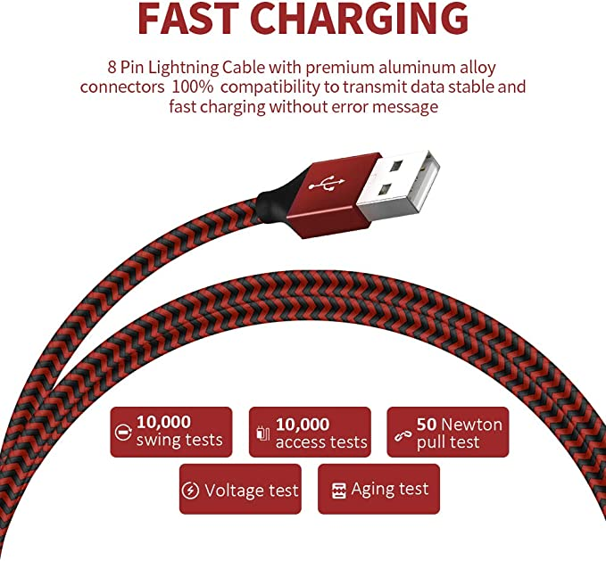 Binecsies MFi Certified iPhone Charger Lightning Cable 5 Pack Extra Long Nylon Braided USB Charging & Syncing Cord Compatible iPhone