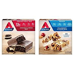 Atkins Protein Meal Bar, Cookies & Crème, Keto Friendly, 5 Count & Atkins Snack Bar, Cranberry Almond, 5 Count