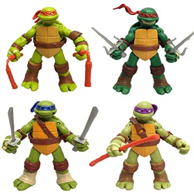 Happy Island Four Teenage Mutant Ninja Turtles Dolls Handy Dolls Transparent Bag Model Toys, Anime Surroundings TMNT: Toys & Games