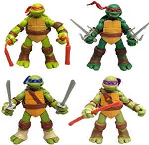 Happy Island Four Teenage Mutant Ninja Turtles Dolls Handy Dolls Transparent Bag Model Toys, Anime Surroundings TMNT