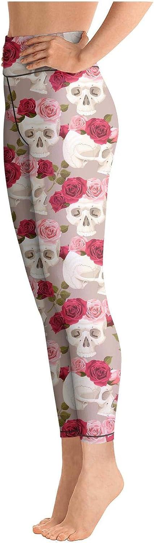 Eoyles gy Womens High Waist Slim-Fit Red Skull Candy Roses Print Activewear Yoga Pants Leggings
