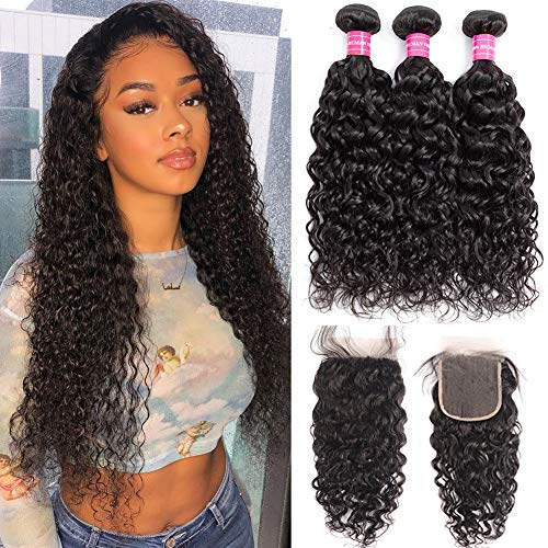 RUIXIAN Brazilian Virgin Water Wave 3 Bundles with Closure 100% Unprocessed Wet and Wavy Water Wave Human Hair Weave Weft Remy Hair Extensions with 4X4 Lace Closure Natural Color (20 22 24 +18inch)