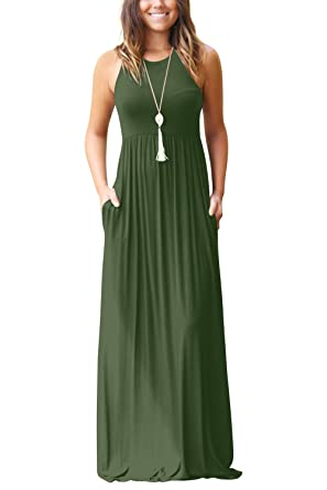 5e09a32652 Measoul Women Sleeveless Loose Plain Maxi Dresses Casual Long Dresses with  Pockets: Amazon.co.uk: Clothing