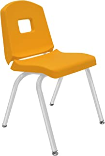 "product image for 16"" Creative Colors Split Bucket Chair in Yellow with Platinum Silver Frame and Self-Leveling Nickel Glide"