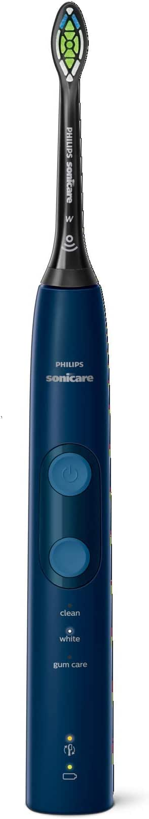 Philips Sonicare ProtectiveClean 5100 Sonic Electric Toothbrush with Built-in Pressure Sensor, 3 Modes & Travel Case, Navy Blue, HX6851/56