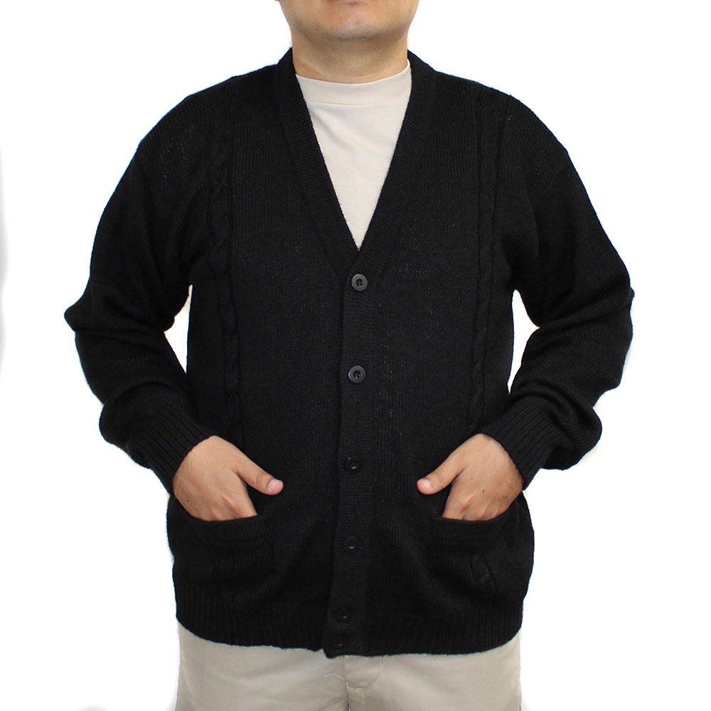Alpaca Cardigan Jersey BRIAD V Neck Buttons and Pockets Made in Peru Black 4XL