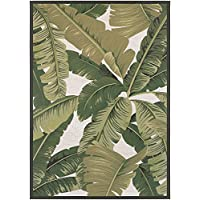 Couristan Dolce Palm Lily Runner Rug, 23 x 710, Hunter Green/Ivory