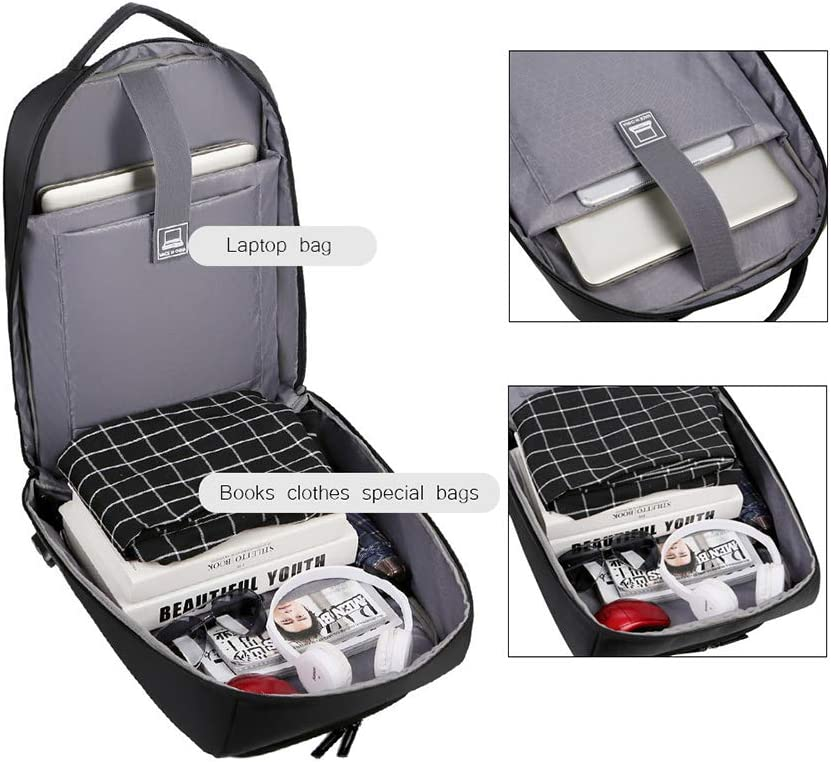 JINGJING Men Business Laptop Backpack Outdoor Travel High Capacity USB Charging Port College Style School Bag,Gray